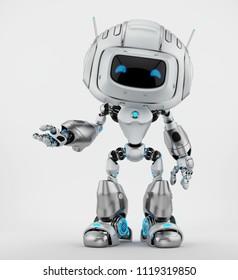 Gesturing robotic creature with antennas, 3d illustration