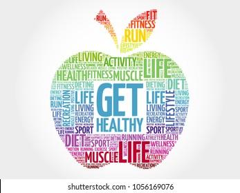 Get Healthy apple word cloud, health concept