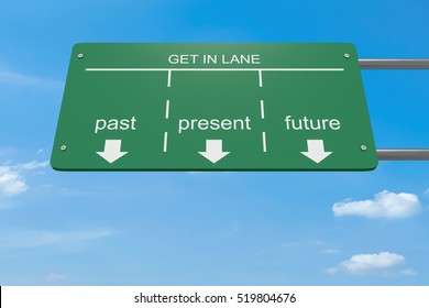Get In Lane Innovation Business Concept: Past Or Present Or Future, 3d illustration