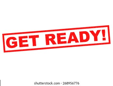 GET READY! red Rubber Stamp over a white background.