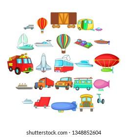 Getting around the world icons set. Cartoon set of 25 getting around the world icons for web isolated on white background