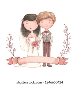 getting married happy newlywed couple, watercolor wedding