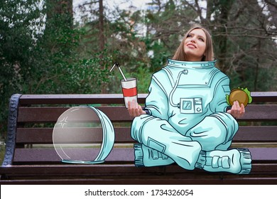 Getting out of quarantine, concept art/. A girl in an astronaut costume arrived on earth to rest and eat fast food. Drawing on top of the photo