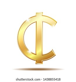 Ghana Cedi currency symbol, gold money sign,  illustration on white background