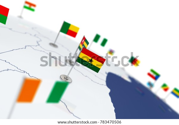 Ghana flag. Country flag with chrome flagpole on the world map with neighbors countries borders. 3d illustration rendering flag