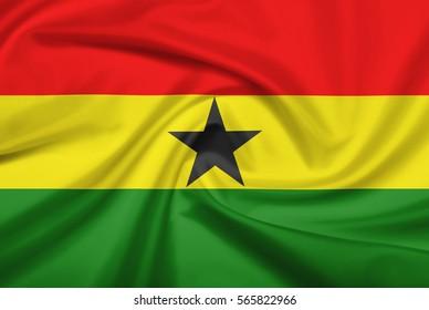 Ghana flag with fabric texture. Flag of Ghana. 3D illustration.