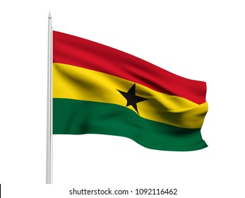 Ghana flag floating in the wind with a White sky background. 3D illustration.
