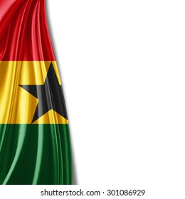 Ghana flag of silk with copyspace for your text or images and white background