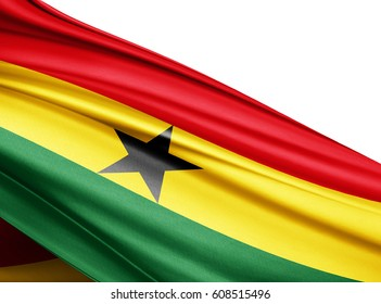 Ghana  flag of silk with copyspace for your text or images and white background-3D illustration