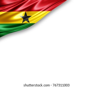 Ghana  flag of silk with copyspace for your text or images and white background -3D illustration