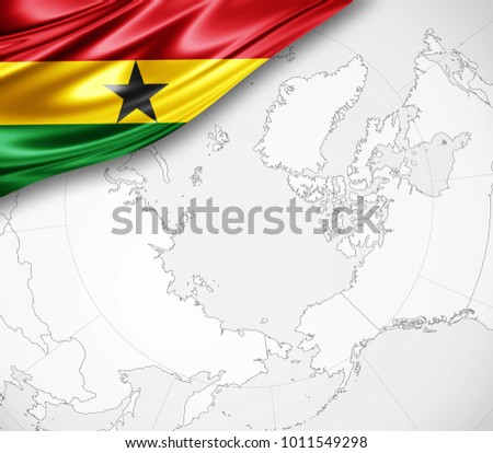 Ghana On A World Map.Royalty Free Stock Illustration Of Ghana Flag Silk World Map