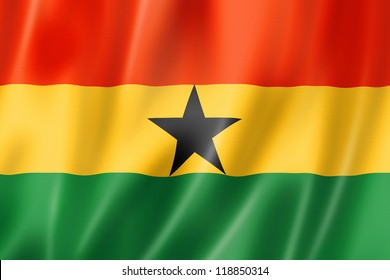Ghana flag, three dimensional render, satin texture