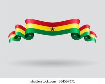 Ghana flag wavy abstract background. Raster version.