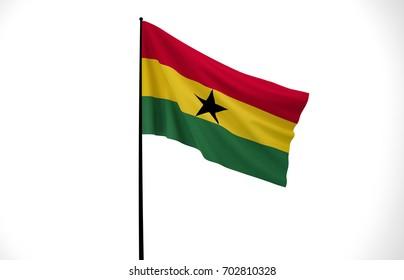Ghana Flag, Wavy Fabric Flag, Ghana, 3D Render