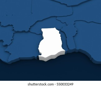 ghana map 3D illustration