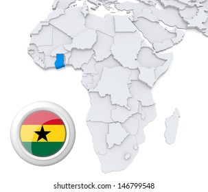 Ghana with national flag