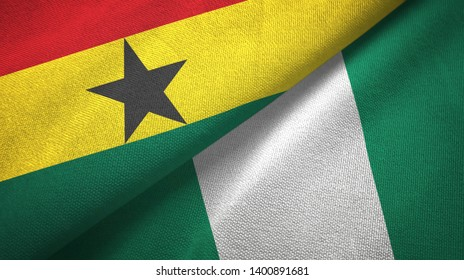 Ghana and Nigeria two flags textile cloth, fabric texture