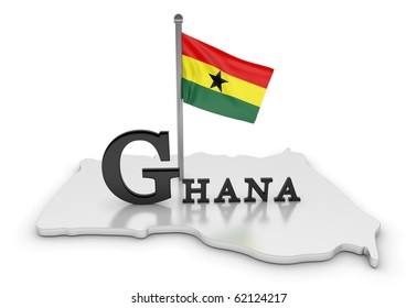 Ghana Tribute/Digitally rendered scene with flag and typography