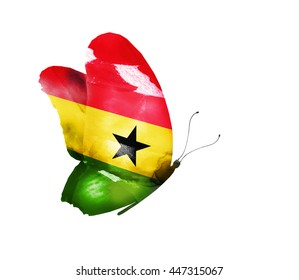 Ghana watercolor flag butterfly, isolated on white
