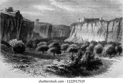 The Gharyan Mountains, south of Tripoli, vintage engraved illustration. Magasin Pittoresque 1858.