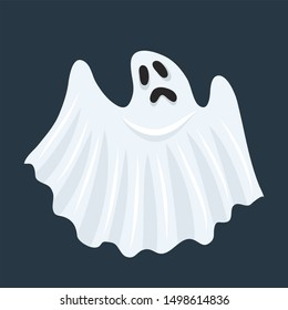 Ghost character. Halloween scary ghostly monster, dead boo spook and cute funny boohoo spooky fly anima or horror curious devil phantom costume isolated cartoon icon