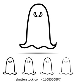 Ghost different shapes icon. Simple thin line, outline of halloween icons for ui and ux, website or mobile application on white background