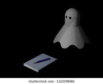 A ghost hovers over a book in pencil as a Ghost Wreath (3D computer graphics)