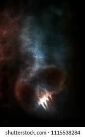 Ghost skull. Screaming ghost noise background. Scary Grunge skull smoke.