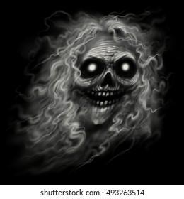 Ghost skull. Smiling ghost background. Skull smoke