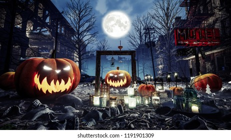 Ghost Town on Halloween Day. Halloween composition. 3d illustration