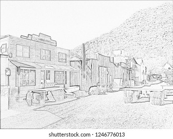 Ghost Town Pencil Sketch