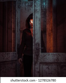 Ghost woman behind the doors,3d illustration