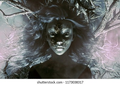Ghost woman in creepy forest,3d Mixed media for book illustration or book cover