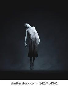Ghost woman floating in dark room,3d rendering