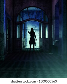 Ghost woman in hallway,3d illustration for book cover