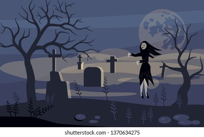 Ghost and zombie on Scary Halloween background with old cemetery and moonlit night. Flat Art Illustration Rastered copy