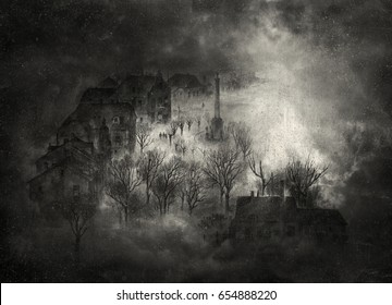 Ghostly town filled with fog and smoke