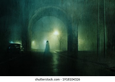 A ghostly transparent woman. Standing underneath an arch of a bridge. On an atmospheric winters night in town. With a grunge, blurred vintage edit.