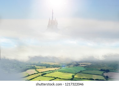 giant castle in clouds above countryside