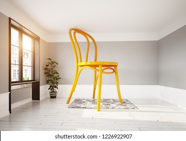 giant chair in the room. 3d rendering creative concept
