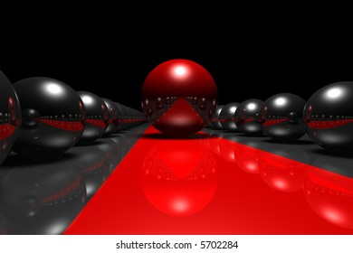 giant chrome spheres, one red in the middle at a red carpet-like stripe