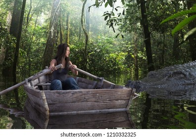 Giant crocodile attack a woman on row boat in the lake,3d illustration conceptual