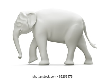Giant elephant Thailand model 3D side view, isolated on white background.