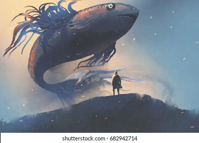 giant fish floating in the sky above man in black cloak, digital art style, illustration painting