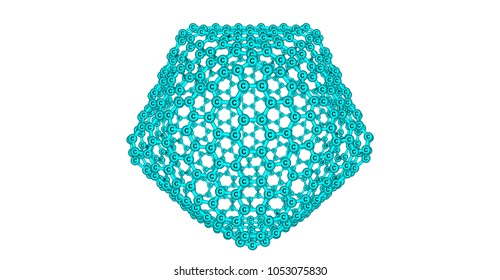 Giant fullerene-like molecule consists of 720 carbon atoms and represents a mesh structure. 3d illustration