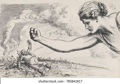 Giant Gibson Girl as the symbol of Democracy, punching German soldier resembling Hindenburg. Behind him is a cowering figure of Kaiser William II. THE LAST BLOW is a 1918 World War 1 drawing by Charle