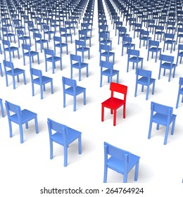 Giant group of blue chairs with one red chair standing in the opposite, wrong direction in center, regular grid, 3d rendering