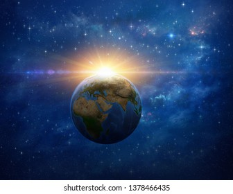 Giant meteor explosion on planet Earth in deep space. 3D illustration - Elements of this image furnished by NASA.