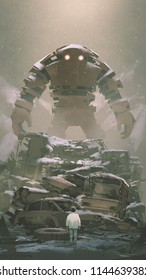giant robot behind pile of wreck cars looking at the boy below, digital art style, illustration painting