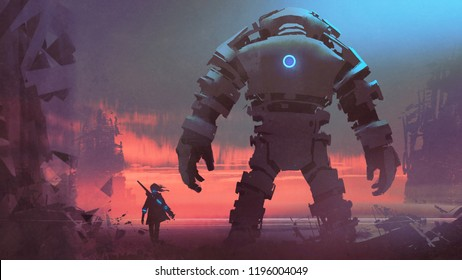 giant robot and its owner looking at a ruined city at sunset, digital art style, digital painting